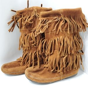 Minnetonka Moccasinsms 3 Layer Fringe Suede Boots